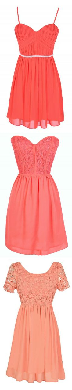 Beautiful Dresses in Coral, Peach, Pink, and Apricot. #fashion #dress #party #event #date #graduation #dance #wedding