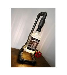 Edison Light - Lámpara de botella de Jack Daniel tubo lámpara - luz del Punk de vapor - lámpara Mod - Steampunk - Wiskey