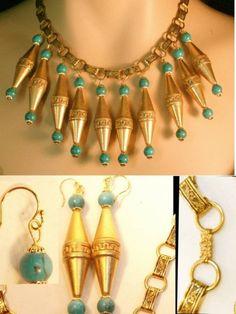 Vintage Deco Bookchain Egyptian Necklace & ER