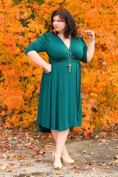 0341dd59531 We are so green with envy. Homeschooling Homeschooling for Her is looking  GORGEOUS in this beautiful picture Winona Hi-Lo Wrap Dress by Kiyonna. big  curvy ...