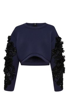 Embroidered Neoprene Crop Top by Aquilano.Rimondi for Preorder on Moda Operandi: