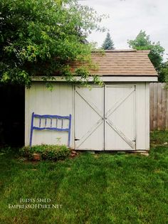 before see how judy jones turned this plain backyard shed into something beautiful