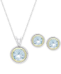 Blue Topaz Pendant Necklace and Matching Stud Earrings Set (4-1/3 ct. t.w.) in 18k Gold-Plate and Sterling Silver -