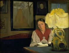 The Artist's Wife by Lamplight (1898). L.A. Ring (Danish, 1854-1933). Oil on canvas. Statens Museum for Kunst.
