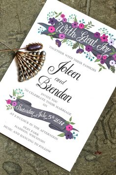 Hand Painted Floral Wedding Invitation by Behold Designz