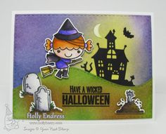 YNS Supplies:  Halloween Phoebe Stamp & Die sets | Halloween Graveyard Stamp & Die sets | Stitched Rectangle Dies | Double Stitched Hills Die | Clear Wink of Stella Pen | Zig Clean Color Real Brush Markers
