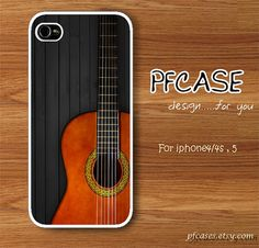 Classic guitar on black wood pattern  Handmade Case for by pfcases, $15.89