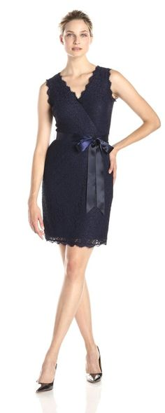 Adrianna Papell Women's Sleeveless Wrap-Front Lace Cocktail Dress