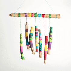 Crafts Wind Chimes How To Make Stick Wind Chimes Wind Chimes Kids, Wooden Wind Chimes, Wind Chimes Online, Bamboo Wind Chimes, Craft Stick Crafts, Craft Projects, Crafts For Kids, Arts And Crafts, Garden Projects