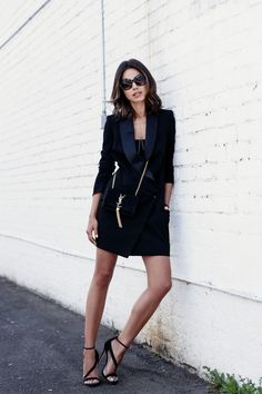 black tuxedo dress with strappy sandals