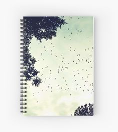 'Flock of birds at sunset' Spiral Notebook by TheOtherErre Flock Of Birds, Cute Office, Print Jacket, Flocking, Spiral, Notebook, Sunset, Cool Stuff, School