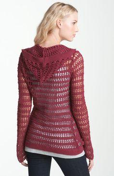 Lucky Brand La Playa Crochet Hoodie in Purple (tropical berry) - Lyst