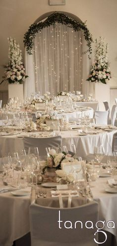 Decoration of classico-romantic, white rose, cream pearls and touch of gray ribbon by designer atmosphere Source by isabreg Chic Wedding, Wedding Trends, Wedding Day, Table Wedding, Wedding White, Flower Decorations, Wedding Decorations, Table Decorations, Romantic Themes