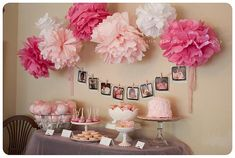 Bing : baby girl shower ideas. Like the garland using baby pictures of the parents and/or other kids in the family.