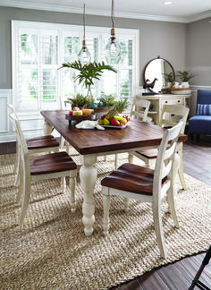 Farmhouse dining table is a great addition to create rustic, cozy look in a dining room