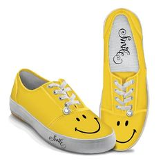 Yellow Smile Womens Canvas Shoes by The Bradford Exchange 85 M US Women -- Learn more by visiting the affiliate link Amazon.com on image.