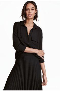 Overhemdblouse van viscose - Zwart - DAMES   H&M NL