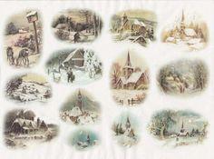 Rice Paper for Decoupage Decopatch Scrapbook Craft Sheet Vintage Winter Village3