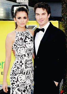 Nina Dobrev and Ian Somerhalder attend the 21st Annual Elton John AIDS Foundation Academy Awards Viewing Party