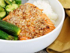 Macadamia, Date & Rosemary Crusted Salmon {Paleo}