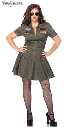 CurvyMarket - Plus Size Top Gun Flight Suit Costume, Plus Size Top Gun Costume, Flight Suit Dress Costume by Yandy