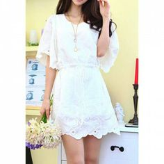 Butterfly Sleeves Scoop Neck Strappy Beam Waist Embroidered Wavy Edge Loose-Fitting Ladylike Women's Dress (WHITE,ONE SIZE) | Everbuying.com