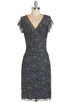 Formal dinner? Dine and shine in this sparkling blue-grey sheath!