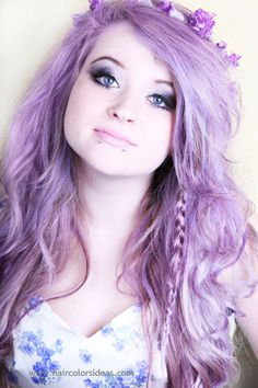 I wanna do this with my hair so badly, I have brown eyes though and that might not look so good with lilac hair ):