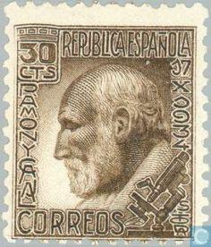 Stamps - Spain [ESP] - Dr. Santiago Ramón y Cajal 1934. Santiago Ramón y Cajal (https://pinterest.com/pin/287386019944159796/).
