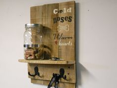 Dog Treat and Leash Entry Way Organizer Shelf Solid Natural Wood Mason Jar Rustic Industrial Decor Hand Stenciled Cold Noses and Warm Hearts