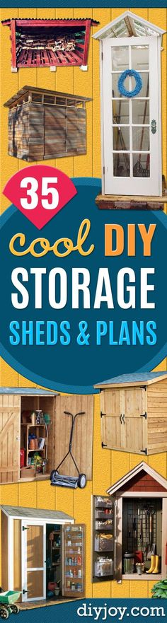 DIY Storage Sheds and Plans - Cool and Easy Storage Shed Makeovers, Cheap Ideas to Build This Weekend, Basic Woodworking Projects to Add Extra Storage Space to Your Home or Small Backyard - How To Build A Shed With Pallets - Step by Step Tutorials and Ins Cheap Storage Sheds, Diy Storage Shed Plans, Building A Storage Shed, Wood Shed Plans, Shed Building Plans, Diy Shed, Built In Storage, Easy Storage, Extra Storage