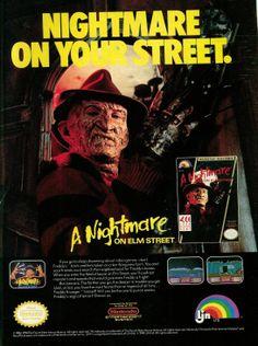 A Nightmare on Elm Street Nintendo Game ad starring Freddy Krueger. #horror