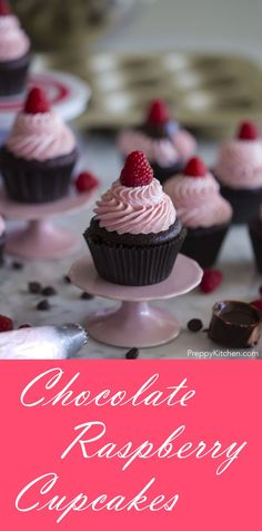 RIch chocolate cupcakes filled with an indulgent ganache and topped with Italian buttercream flavored with a raspberry reduction. via @preppykitchen