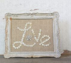 Personalize vintage button and burlap messages in weathered vintage frames.   @Kira Quan & Patina