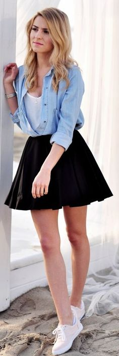 Black High Waist Pleated A-skirt by Make Life Easier