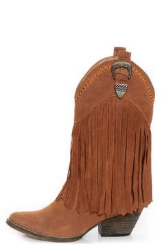 Very Volatile Hillside Tan Fringe Leather Cowboy Boots at LuLus.com! #lulusrocktheroad