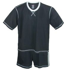 This great cotton knit 2 piece pajama set will keep you cool and comfortable. The crew neck short sleeve tee features contrast color collar trim and stitching for a fashionable look. The shorts feature a covered elastic waistband with drawstring for a perfect adjustable fit. The shorts have a 7 inch inseam for comfortable coverage