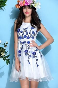 Embriodery Organza Princess Dress in Blue