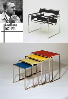 He was known for his invention of tubular steel furniture. Wassily chair was made in 1924 while he was attending Bauhaus. Not popular at first, but after it was re-released in it became a design classic. Bauhaus Furniture, Steel Furniture, Marcel Breuer, Vintage Furniture, Modern Furniture, Home Furniture, Walter Gropius, Famous Furniture Designers, Wassily Chair