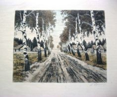 "Vintage Original Signed Print Countryside with Birch Trees 17"" x 14"" 