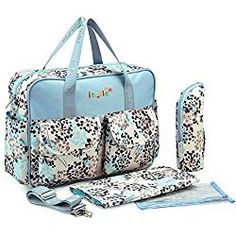 KF Baby Rox Blue Diaper Bag Value Set, with Crossbody bag strap, Changing Pads, more