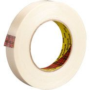3M 898 Scotch Filament Tape 70006248630 Clear, 3/4 inch x 60 yards has a polypropylene backing reinforced with continuous glass yarn with stain resistant finish. Typical 380 lb/inch width tensile strength with aggressive high shear adhesive for heavy duty closure, reinforcing, and banding.