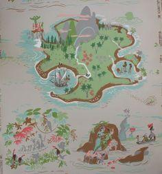 1950's Disney Neverland Peter Pan Vintage Wallpaper | eBay