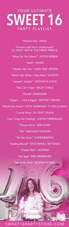 The ULTIMATE Sweet 16 Party Playlist from Sweet 16 Party Store!