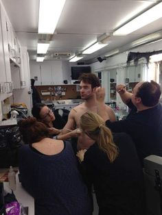 Charlie Cox in make up for Daredevil