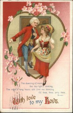 Clapsaddle Valentine Young Victorian Man and Woman c1910 Postcard | eBay