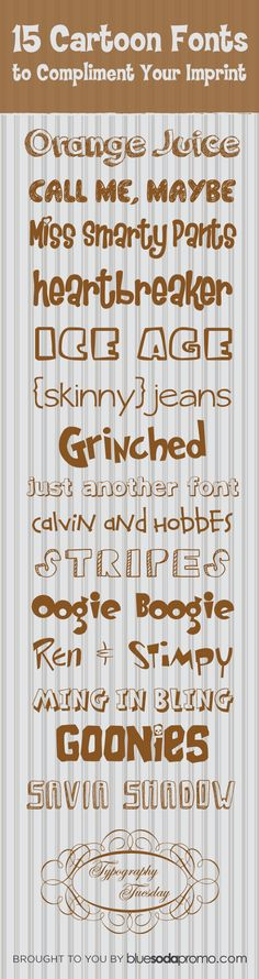 15 Cartoon Fonts to Compliment Your Imprint ~~ {15 free fonts - one link to dafont.com - then search for the font you like}