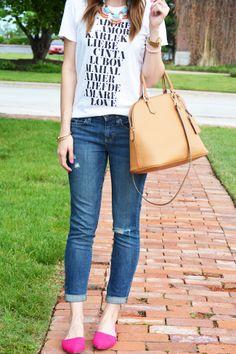 Graphic tee + boyfriend jeans | Love, Lenore
