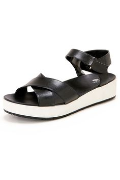 Casual Chic | Women's Black and White Easy Ankle Strap Slide Sandals.