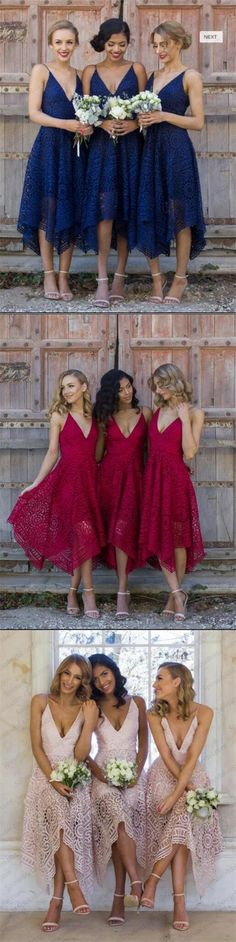 Short Royal Blue Pink Red Bridesmaid Dresses, Full Lace Newest Bridesmaid Dress, PD0333  #lace bridesmaid dresses#fashion #shopping #wedding party dresses#